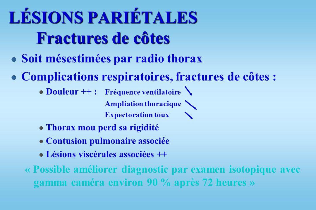 LÉSIONS PARIÉTALES Fractures de côtes l Fracture 1ère côte : facteur gravité-violence, syndrome du défilé thoraco-brachial l Fractures basses : + asso