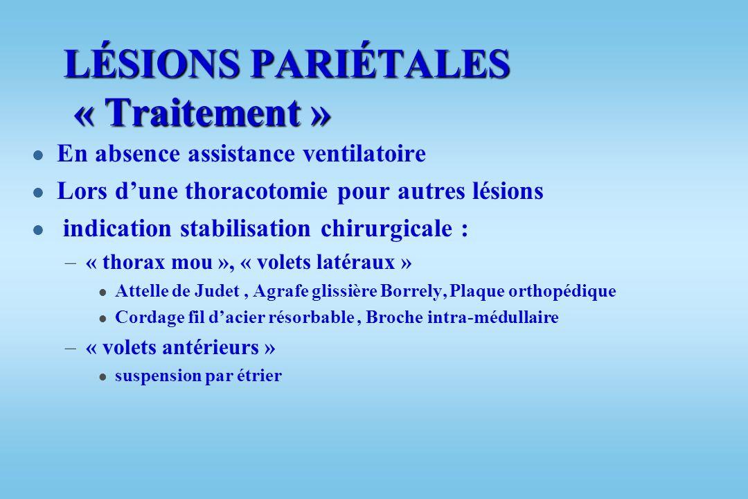 LÉSIONS PARIÉTALES « Traitement » l Rare indication stabilisation chirurgicale l Plus souvent stabilisation pneumatique interne par ventilation mécani