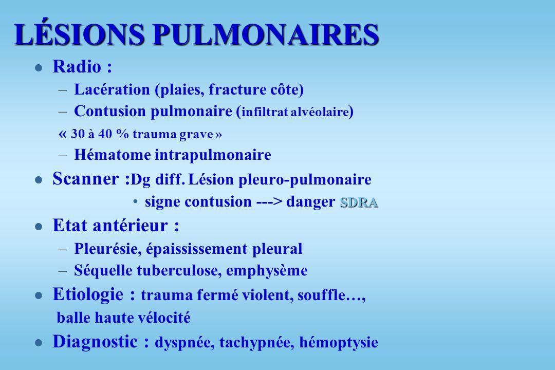 BILAN LÉSIONNEL l Thoracique : –Lésions pariétales –Lésions pleurales : l Hémothorax l Pneumothorax l Hémopneumothorax –Lésions pulmonaires –Lésions t
