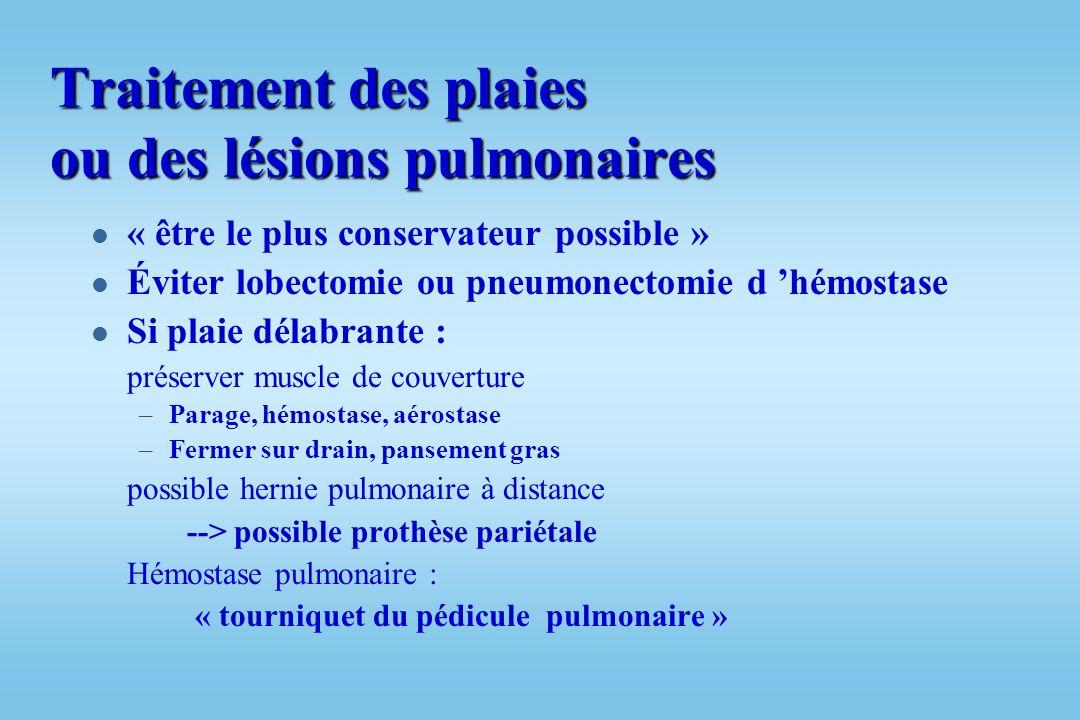 PLAIES PULMONAIRES l Autres lésions : –Corps étrangers intra-pulmonaire l Retirer si menaçant l Complications à distance, hémorragie, infection l Empa