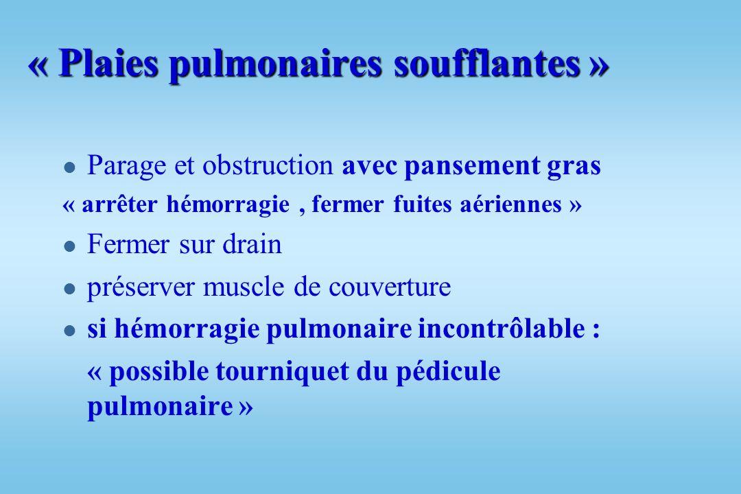 Traitement des plaies ou des lésions pulmonaires l « être le plus conservateur possible » l Éviter lobectomie ou pneumonectomie d hémostase l Si plaie