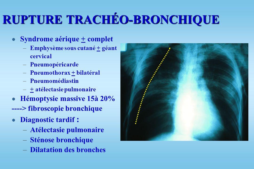 RUPTURE TRACHÉO-BRONCHIQUE l 3.5 % des traumatismes thoraciques graves : –Sujet jeune –Décélération importante –Compression thoracique l + fréquente i