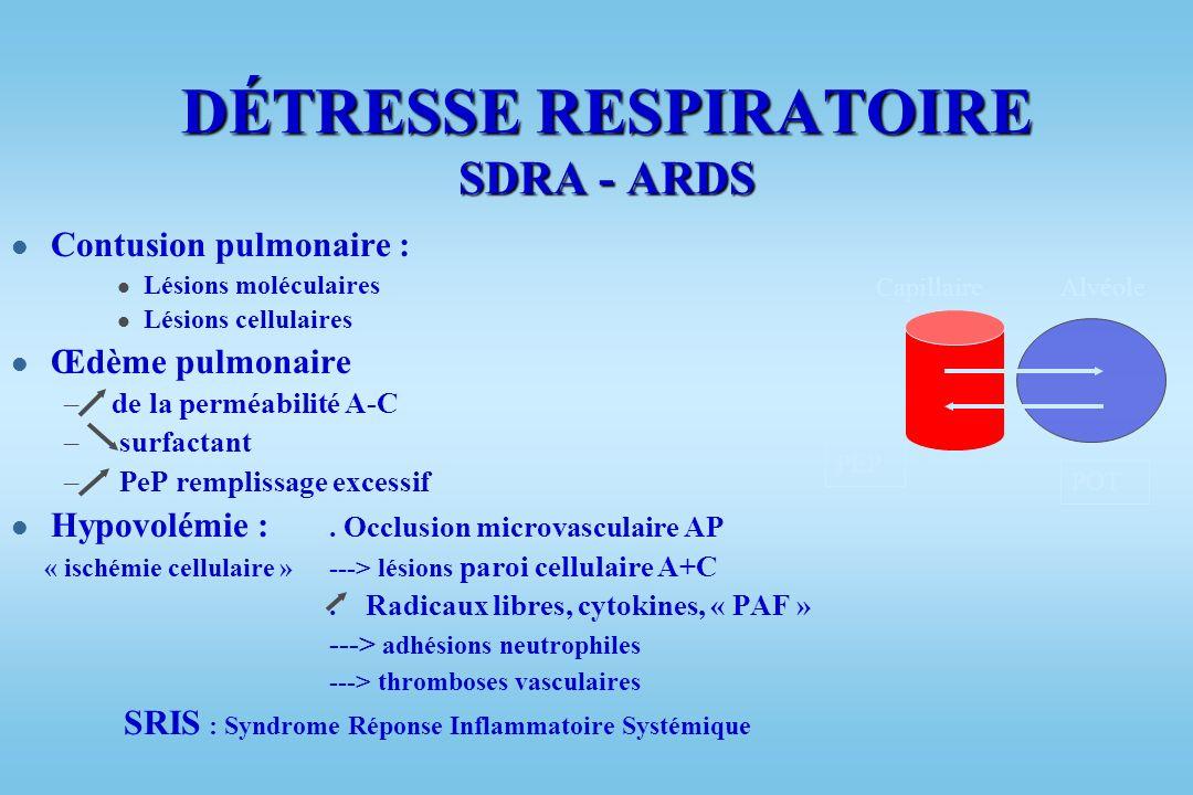 PHYSIOPATHOLOGIE l Traumatisme thoracique « ouvert » ou « fermé » responsable de 2 types de complications : –Détresse respiratoire –Détresse circulato