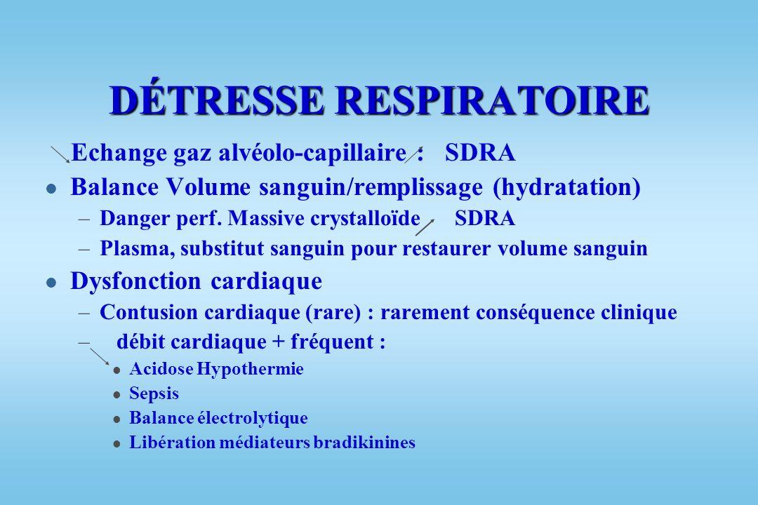 DÉTRESSE RESPIRATOIRE SDRA - ARDS l Contusion pulmonaire : l Lésions moléculaires l Lésions cellulaires l Œdème pulmonaire – de la perméabilité A-C –