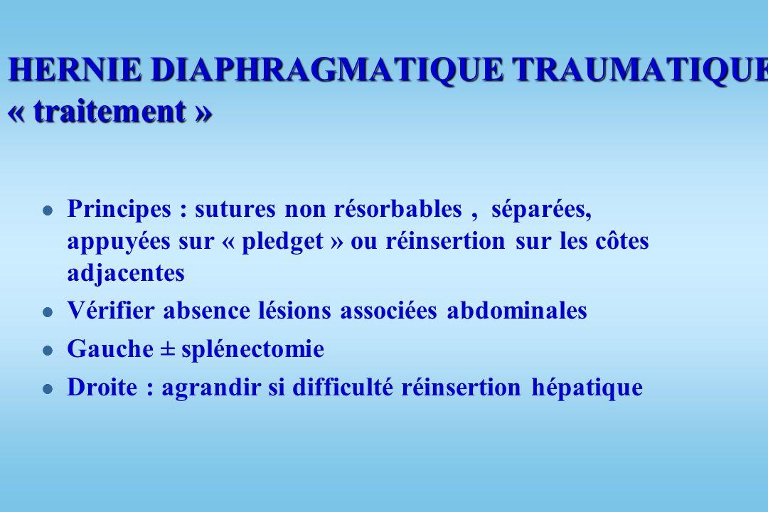 l Lésions associées orientent le diagnostic : –Fractures multiples côtes 26 à 75 % des cas –Traumatisme splénique 20 % –Traumatisme hépatique 14 % –Fr