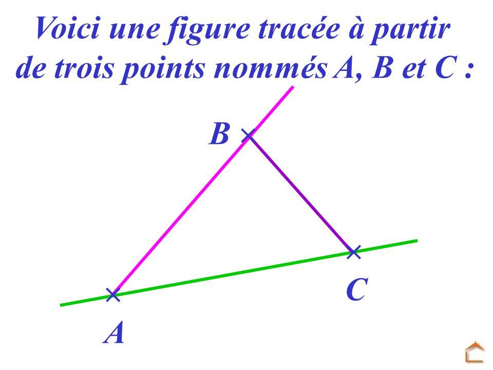 A B C Voici une figure tracée à partir de trois points nommés A, B et C :