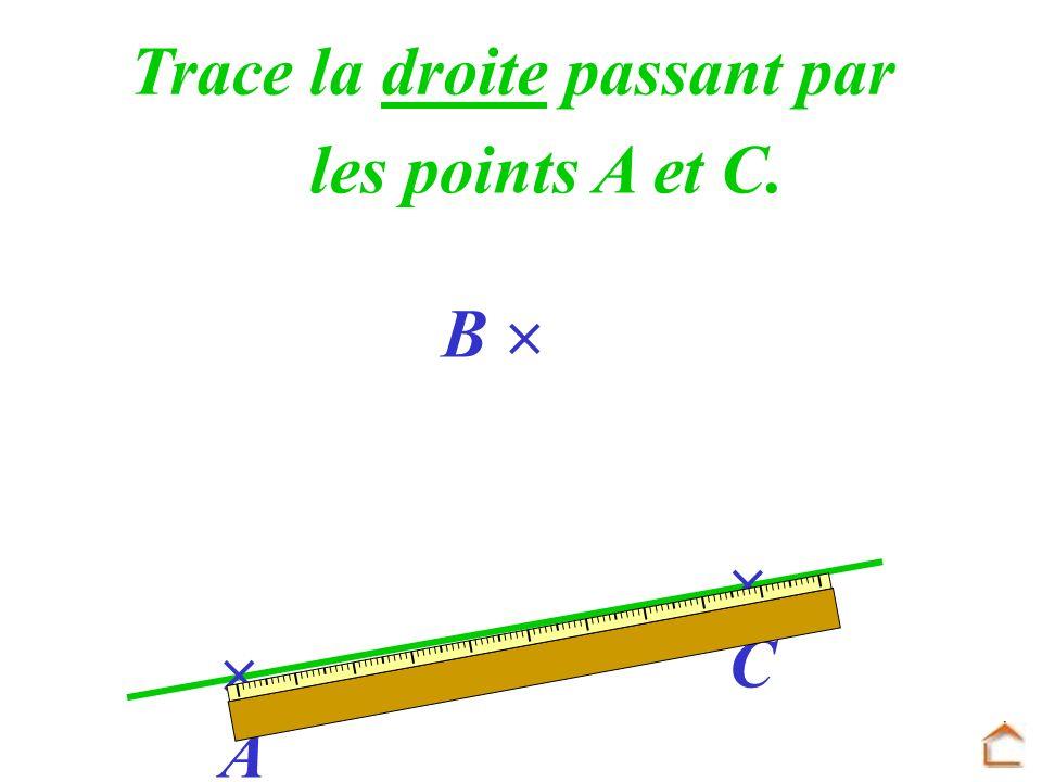A B C Trace la droite passant par les points A et C.