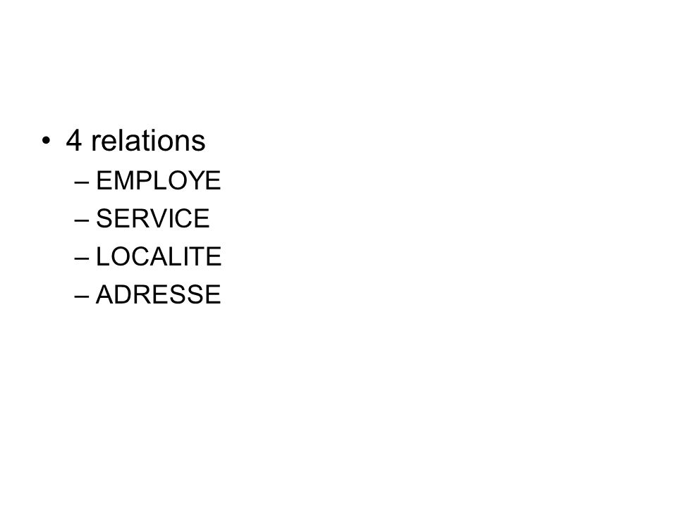 4 relations –EMPLOYE –SERVICE –LOCALITE –ADRESSE