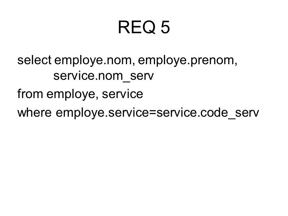 select employe.nom, employe.prenom, service.nom_serv from employe, service where employe.service=service.code_serv