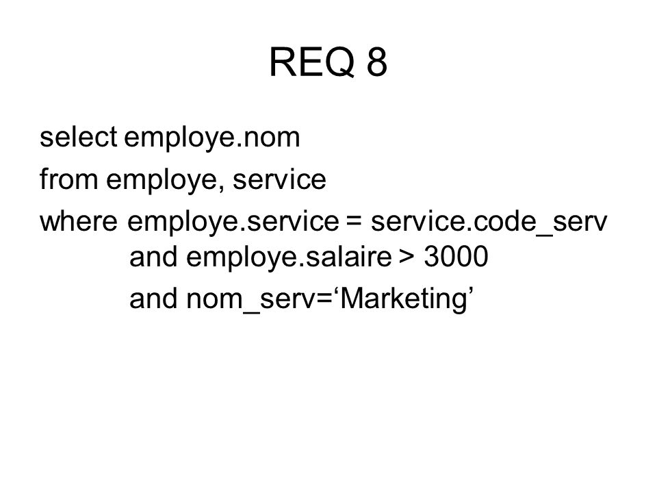 select employe.nom from employe, service where employe.service = service.code_serv and employe.salaire > 3000 and nom_serv=Marketing