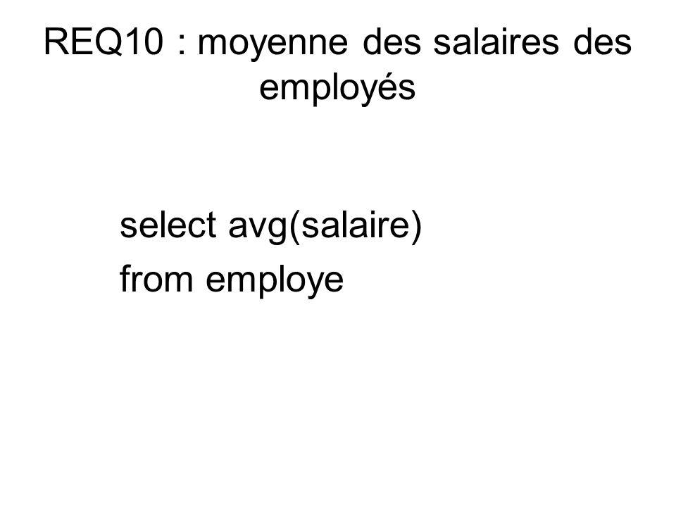 REQ10 : moyenne des salaires des employés select avg(salaire) from employe