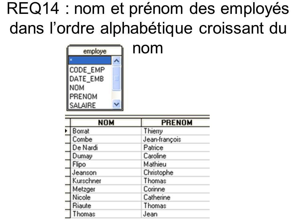REQ14 : nom et prénom des employés dans lordre alphabétique croissant du nom