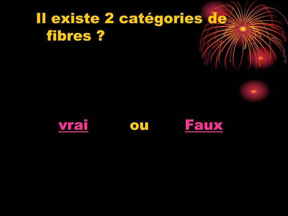 Il existe 2 catégories de fibres ? vraiFaux ou