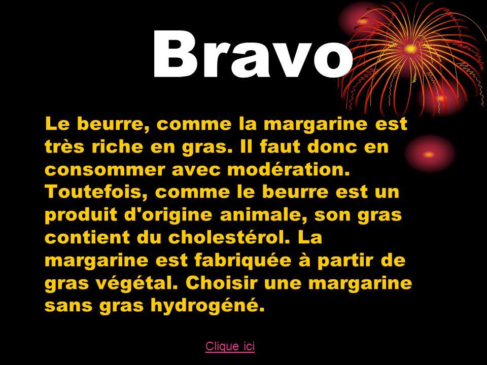 Bravo Le beurre, comme la margarine est très riche en gras.