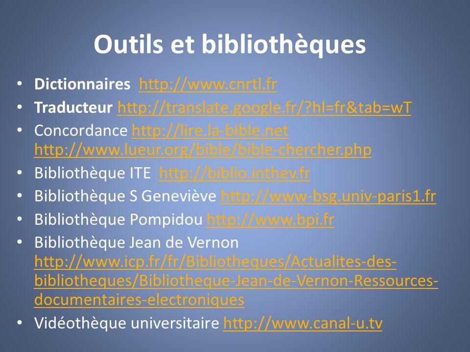 Outils et bibliothèques Dictionnaires http://www.cnrtl.frhttp://www.cnrtl.fr Traducteur http://translate.google.fr/?hl=fr&tab=wThttp://translate.googl