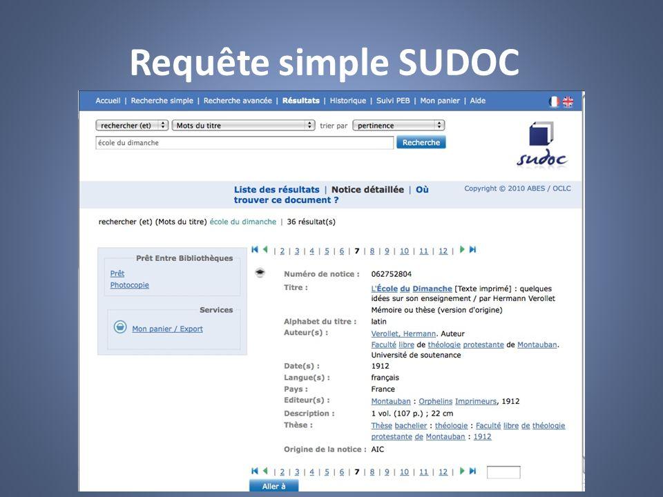 Requête simple SUDOC