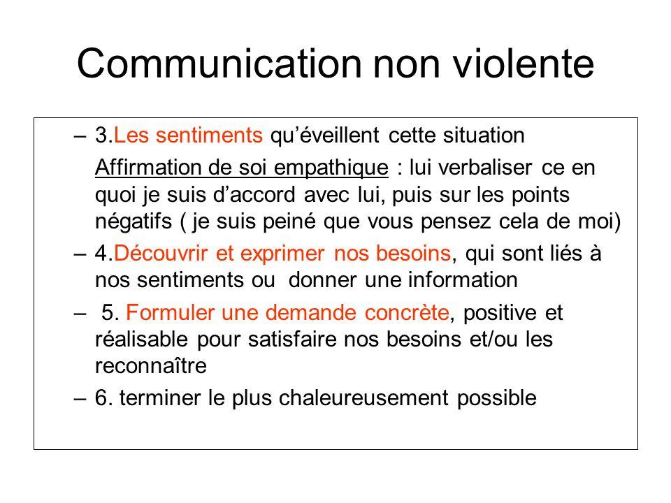 Communication non violente –3.Les sentiments quéveillent cette situation Affirmation de soi empathique : lui verbaliser ce en quoi je suis daccord ave