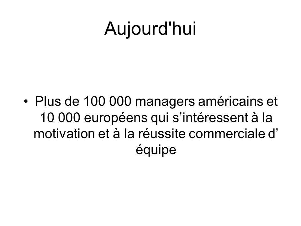 Aujourd hui Plus de 100 000 managers américains et 10 000 européens qui sintéressent à la motivation et à la réussite commerciale d équipe