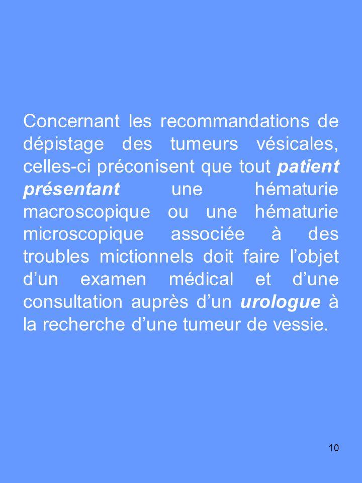 11 Le dépistage de masse dune hématurie microscopique par bandelette auto-réactive chez les patients asymptomatiques nest pas recommandé.