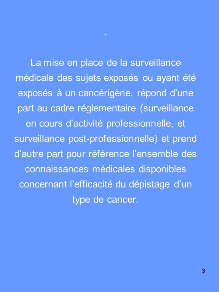 3. La mise en place de la surveillance médicale des sujets exposés ou ayant été exposés à un cancérigène, répond dune part au cadre réglementaire (sur