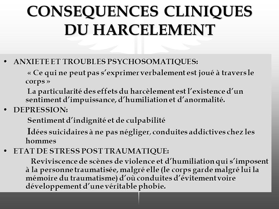 CONSEQUENCES CLINIQUES DU HARCELEMENT ANXIETE ET TROUBLES PSYCHOSOMATIQUES: ANXIETE ET TROUBLES PSYCHOSOMATIQUES: « Ce qui ne peut pas sexprimer verbalement est joué à travers le corps » La particularité des effets du harcèlement est lexistence dun sentiment dimpuissance, dhumiliation et danormalité.