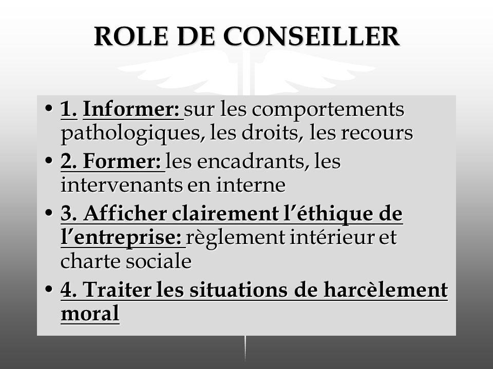 ROLE DE CONSEILLER 1. Informer: sur les comportements pathologiques, les droits, les recours 1. Informer: sur les comportements pathologiques, les dro