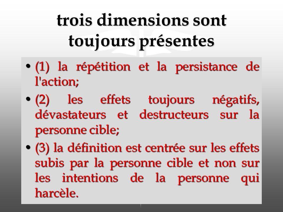 trois dimensions sont toujours présentes (1) la répétition et la persistance de l action;(1) la répétition et la persistance de l action; (2) les effets toujours négatifs, dévastateurs et destructeurs sur la personne cible;(2) les effets toujours négatifs, dévastateurs et destructeurs sur la personne cible; (3) la définition est centrée sur les effets subis par la personne cible et non sur les intentions de la personne qui harcèle.(3) la définition est centrée sur les effets subis par la personne cible et non sur les intentions de la personne qui harcèle.