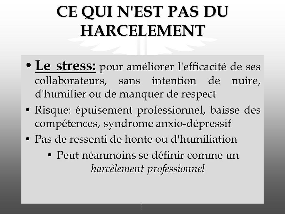 CE QUI N'EST PAS DU HARCELEMENT Le stress: pour améliorer l'efficacité de ses collaborateurs, sans intention de nuire, d'humilier ou de manquer de res