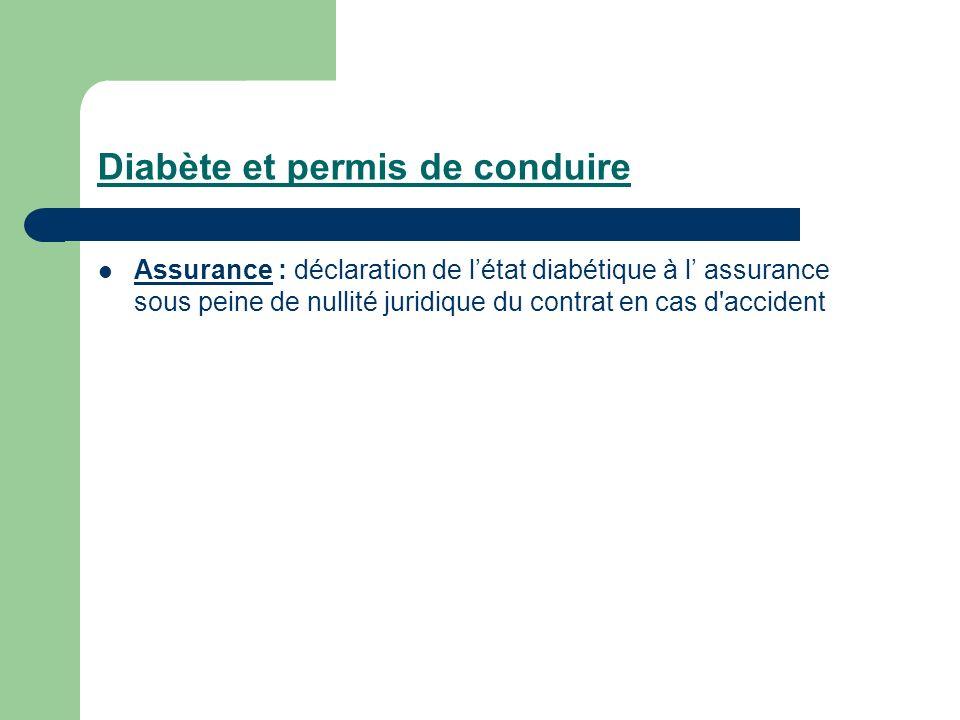 Diabète et permis de conduire Assurance : déclaration de létat diabétique à l assurance sous peine de nullité juridique du contrat en cas d'accident