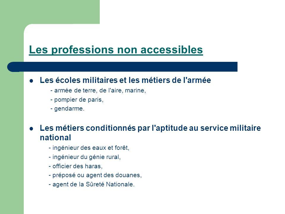 Les professions non accessibles Les écoles militaires et les métiers de l'armée - armée de terre, de l'aire, marine, - pompier de paris, - gendarme. L