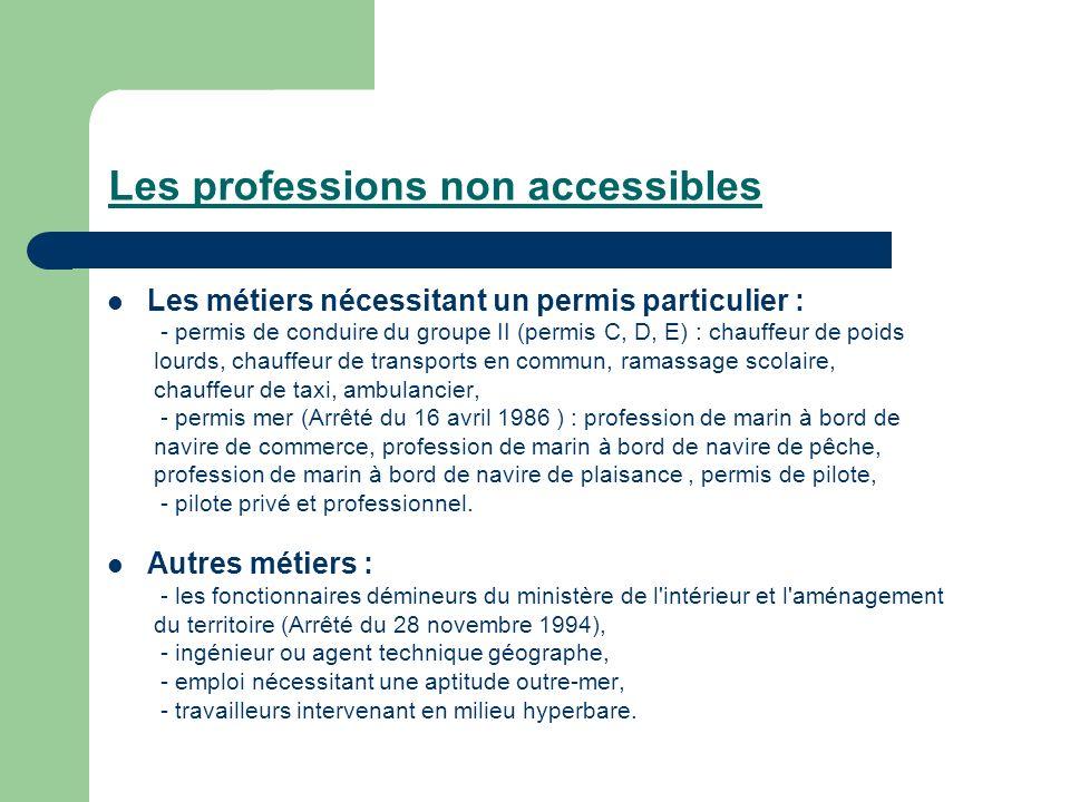 Les professions non accessibles Les métiers nécessitant un permis particulier : - permis de conduire du groupe II (permis C, D, E) : chauffeur de poid