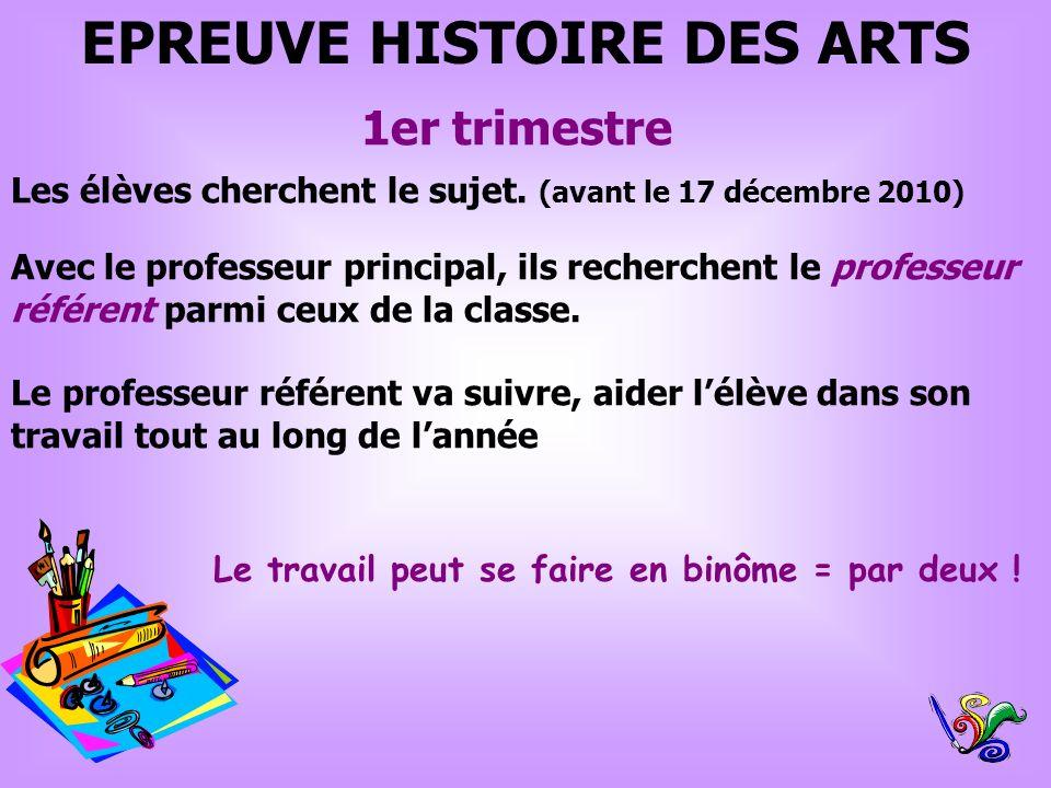 EPREUVE HISTOIRE DES ARTS 1er trimestre Les élèves cherchent le sujet. (avant le 17 décembre 2010) Avec le professeur principal, ils recherchent le pr