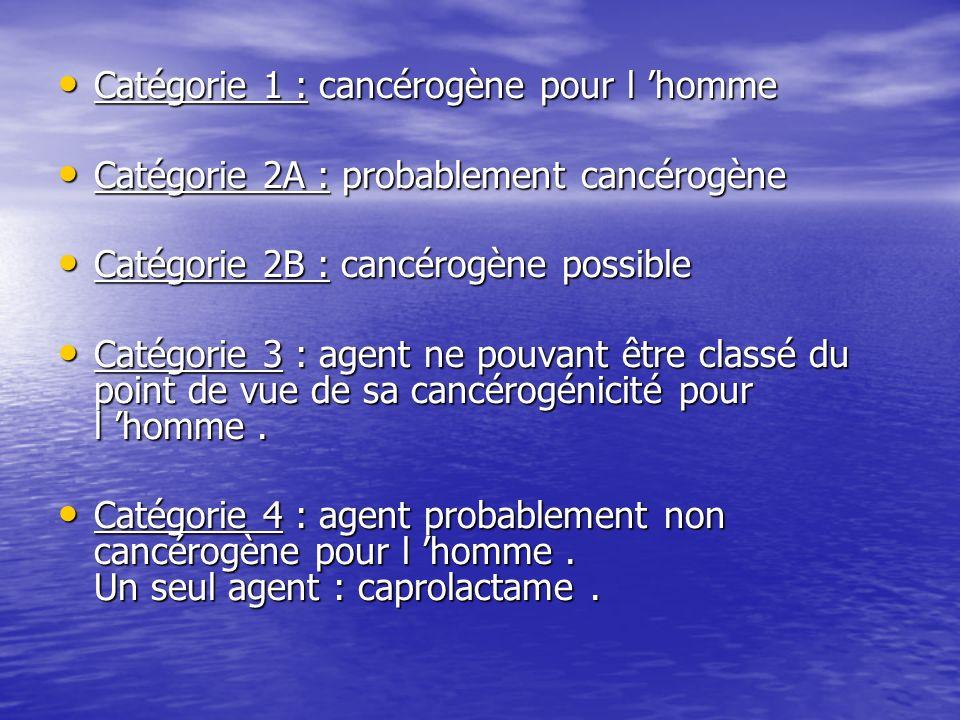 Catégorie 1 : cancérogène pour l homme Catégorie 1 : cancérogène pour l homme Catégorie 2A : probablement cancérogène Catégorie 2A : probablement canc