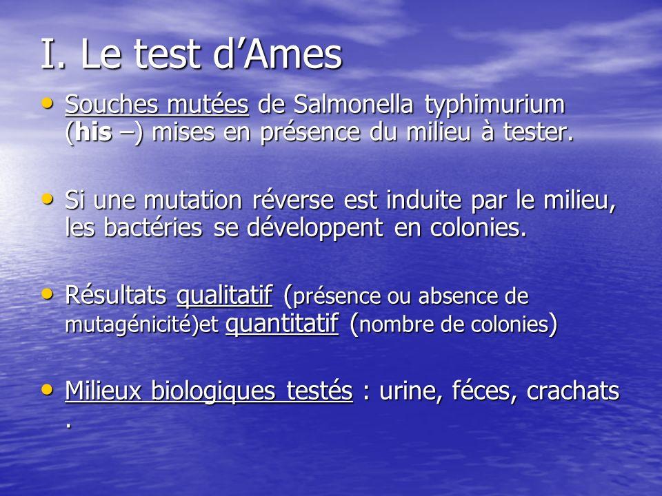 I. Le test dAmes Souches mutées de Salmonella typhimurium (his –) mises en présence du milieu à tester. Souches mutées de Salmonella typhimurium (his