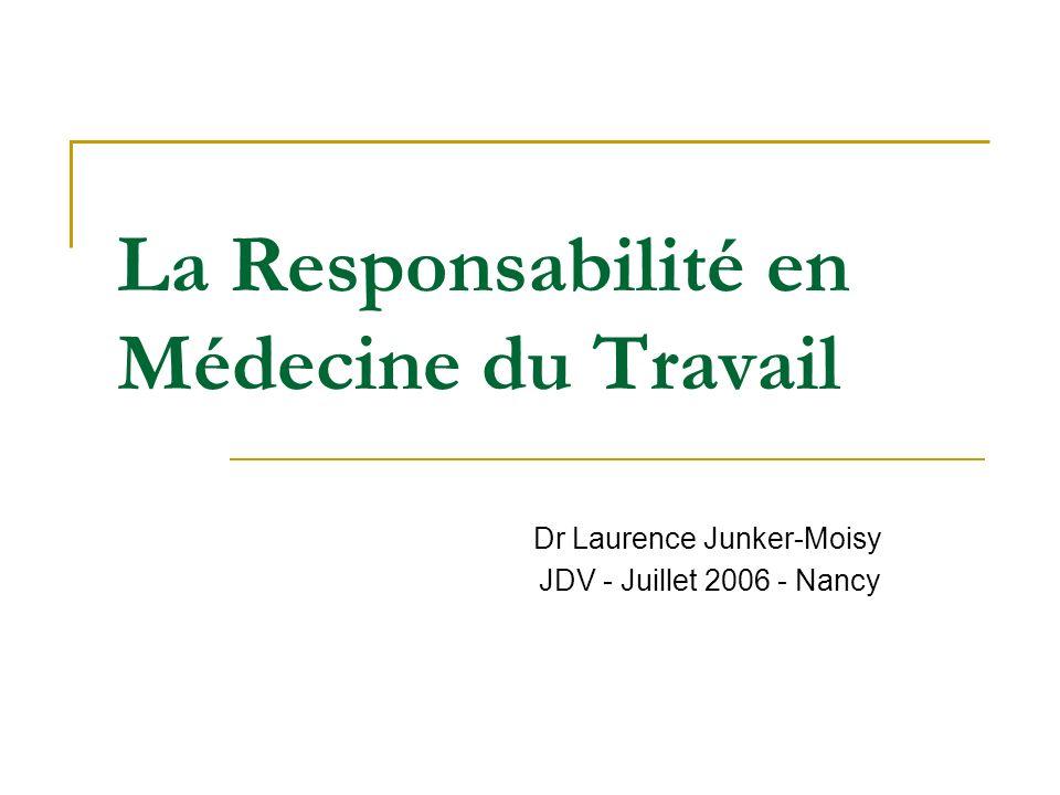 La Responsabilité en Médecine du Travail Dr Laurence Junker-Moisy JDV - Juillet 2006 - Nancy