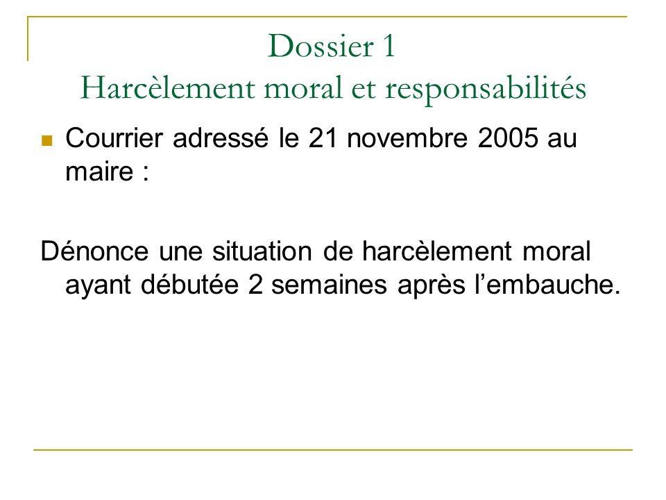 Dossier 1 Harcèlement moral et responsabilités Courrier adressé le 21 novembre 2005 au maire : Dénonce une situation de harcèlement moral ayant débuté