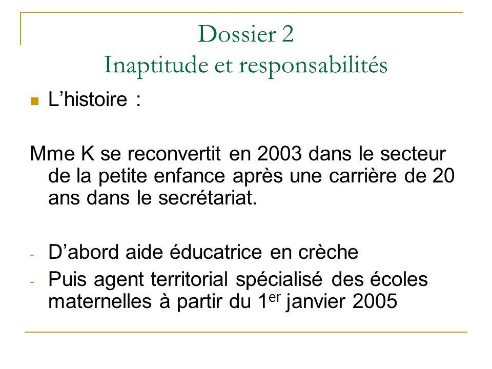 Dossier 2 Inaptitude et responsabilités Lhistoire : Mme K se reconvertit en 2003 dans le secteur de la petite enfance après une carrière de 20 ans dan