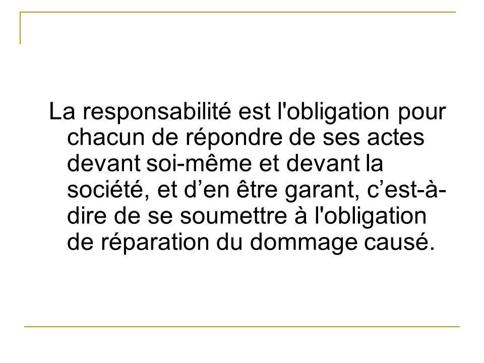 I / Les différents types de responsabilité 1) Responsabilité pénale - Lorsque est commis un fait pénalement réprimé par un texte, - même s il n en résulte aucun préjudice.