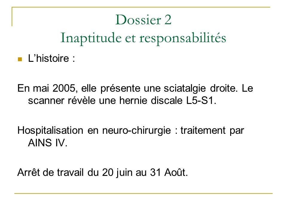Dossier 2 Inaptitude et responsabilités Lhistoire : En mai 2005, elle présente une sciatalgie droite. Le scanner révèle une hernie discale L5-S1. Hosp