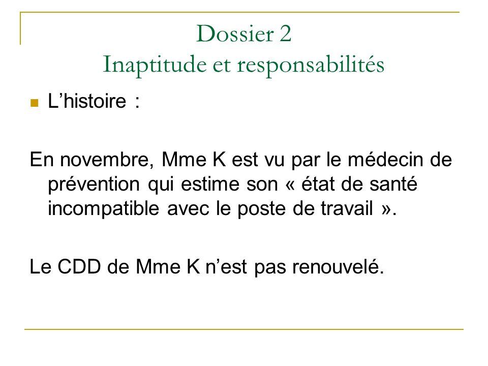 Dossier 2 Inaptitude et responsabilités Lhistoire : En novembre, Mme K est vu par le médecin de prévention qui estime son « état de santé incompatible