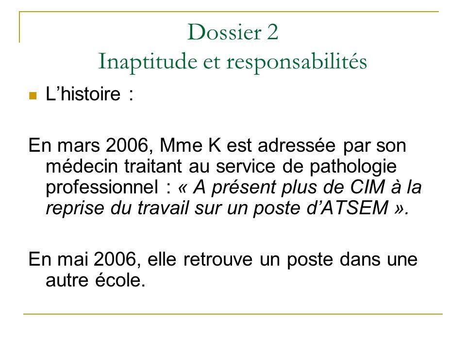 Dossier 2 Inaptitude et responsabilités Lhistoire : En mars 2006, Mme K est adressée par son médecin traitant au service de pathologie professionnel :