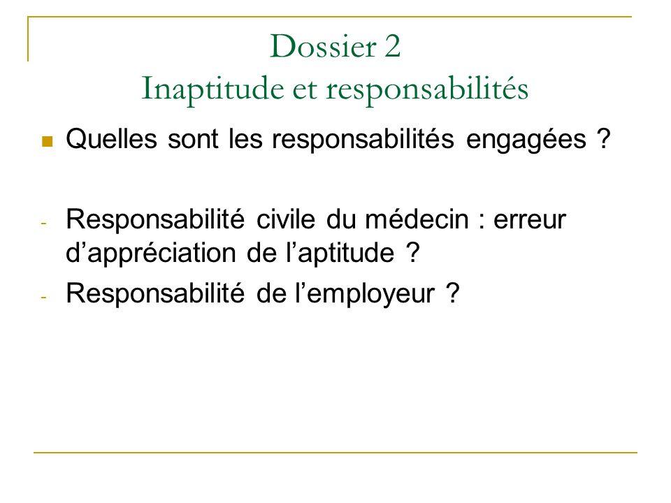 Dossier 2 Inaptitude et responsabilités Quelles sont les responsabilités engagées ? - Responsabilité civile du médecin : erreur dappréciation de lapti