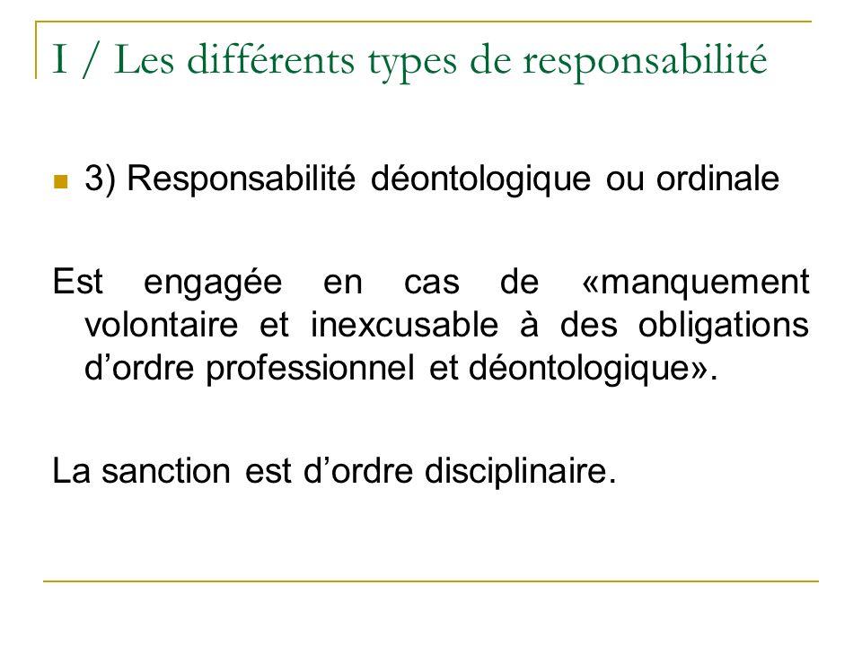 I / Les différents types de responsabilité 3) Responsabilité déontologique ou ordinale Est engagée en cas de «manquement volontaire et inexcusable à d