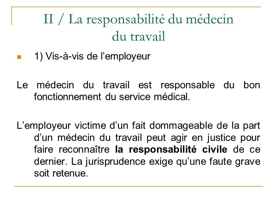 II / La responsabilité du médecin du travail 1) Vis-à-vis de lemployeur Le médecin du travail est responsable du bon fonctionnement du service médical