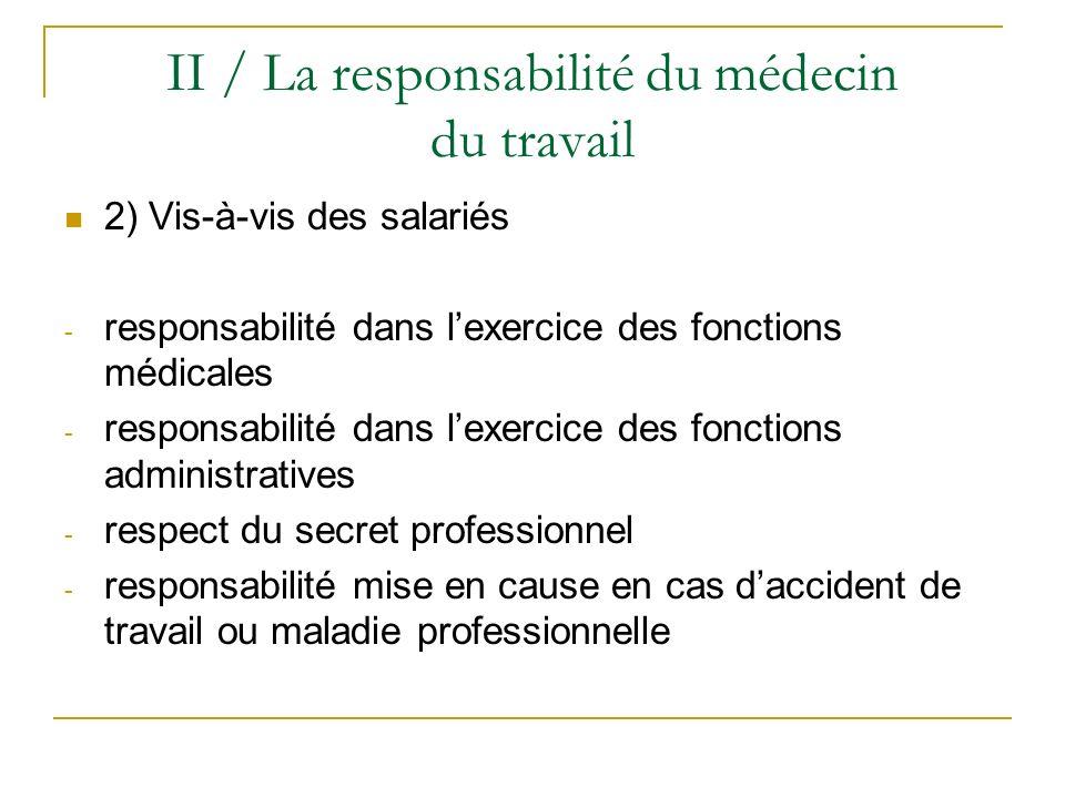II / La responsabilité du médecin du travail 2) Vis-à-vis des salariés - responsabilité dans lexercice des fonctions médicales - responsabilité dans l