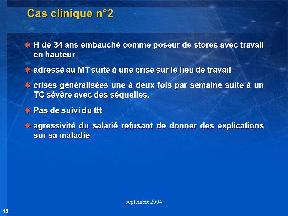 19 septembre 2004 Cas clinique n°2 H de 34 ans embauché comme poseur de stores avec travail en hauteur adressé au MT suite à une crise sur le lieu de