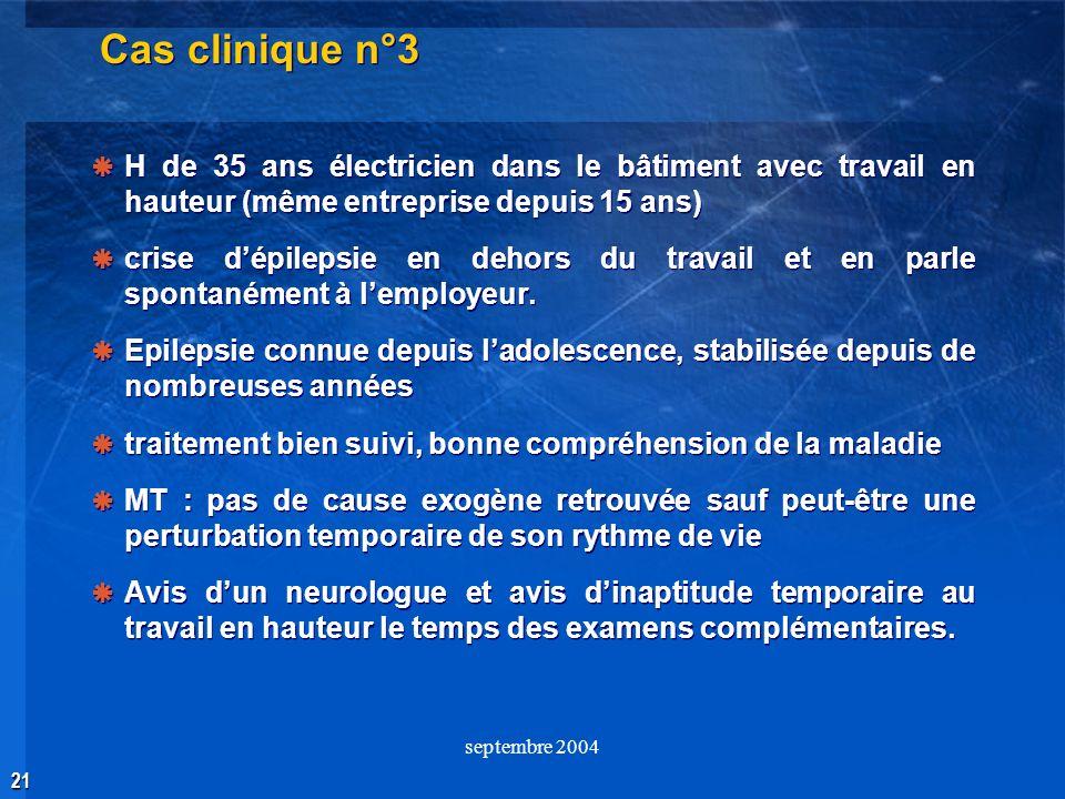 21 septembre 2004 Cas clinique n°3 H de 35 ans électricien dans le bâtiment avec travail en hauteur (même entreprise depuis 15 ans) crise dépilepsie e