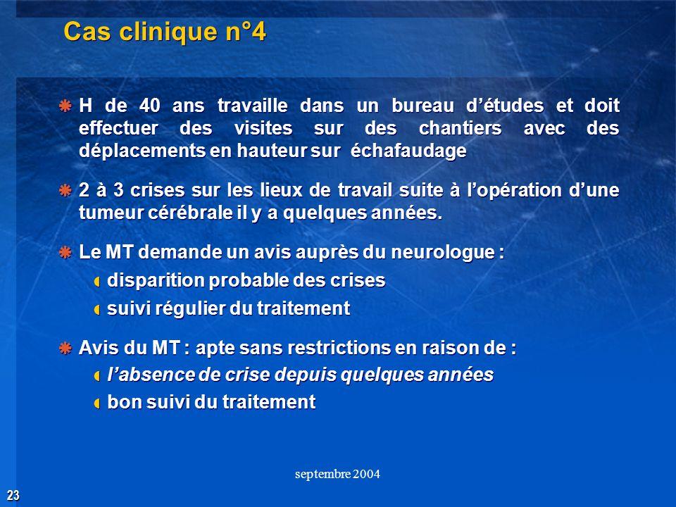 23 septembre 2004 Cas clinique n°4 H de 40 ans travaille dans un bureau détudes et doit effectuer des visites sur des chantiers avec des déplacements