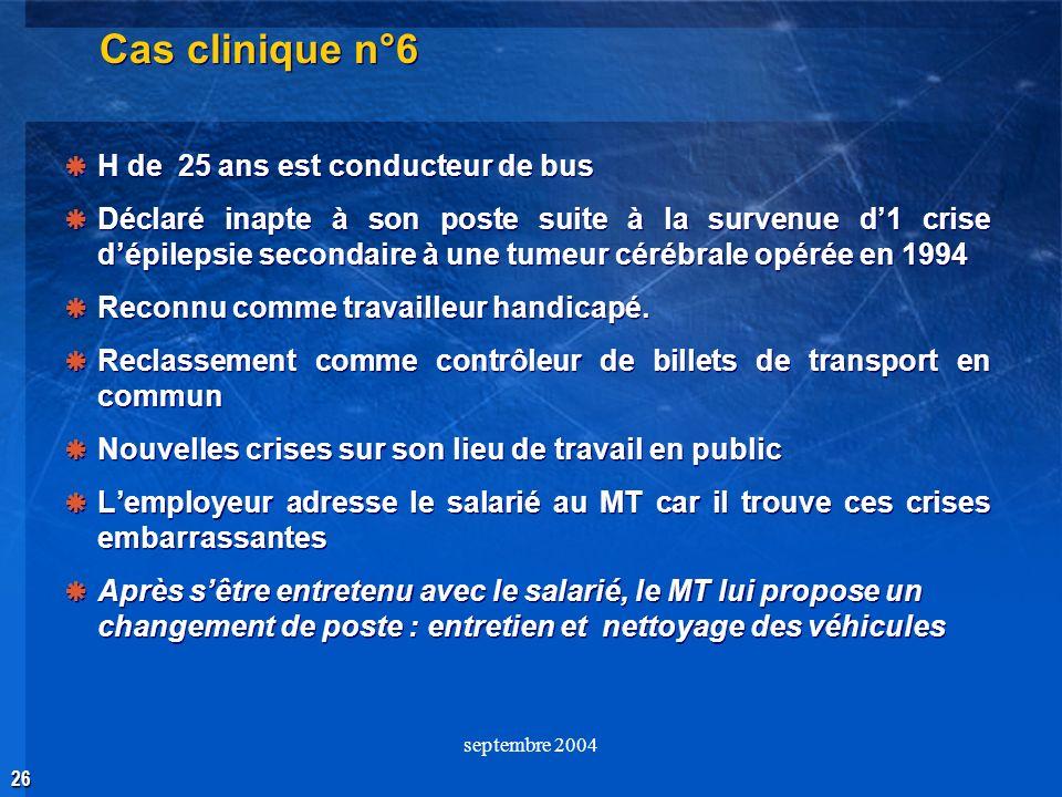 26 septembre 2004 Cas clinique n°6 H de 25 ans est conducteur de bus Déclaré inapte à son poste suite à la survenue d1 crise dépilepsie secondaire à u
