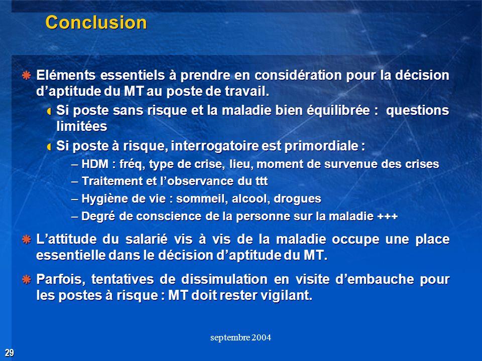 29 septembre 2004 Conclusion Eléments essentiels à prendre en considération pour la décision daptitude du MT au poste de travail. Si poste sans risque